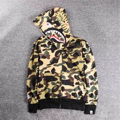 Hot Popular BAPE A Bathing Ape Hoodie Camo Men's Shark Head Full Zip Coat Jacket | Clothing, Shoes & Accessories, Men's Clothing, Sweats & Hoodies | eBay!