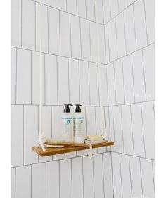 Whether you have a small or big bathroom, that space can get cluttered with toiletries, towels, bathrobes, and more. Make a rope swing shelf to corral shower products.