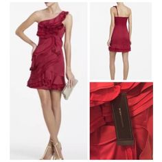 BCBG Jonesy One-Shoulder Dress in Ruby Red BCBG's Jonesy One-Shoulder Dress in Ruby Red is a truly beautiful, elegant piece. Ruffles detail down the front of dress makes it shine. BCBGMaxAzria Dresses Mini