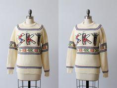 Ski Pullover Sweater / 1970s Sweater / Cream / Nordic