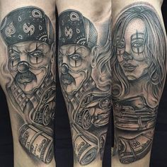 Gangsta Tattoos On Half Sleeve Tattoos For Guys, Cool Tattoos, Amazing Tattoos, Gangsta Tattoos, Cartoon Tattoos, Joker Tatto, Grey, Jokers, Tattoo