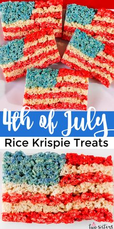 Our 4th of July Rice Krispie Treats are a fun, delicious and easy-to-make treat for your 4th of July party! This Red White and Blue American Flag Rice Krispie Treat will be a hit with friends and family. Pin this delicious 4th of July dessert for later and follow us for more fun 4th of July Food Ideas. 4th Of July Desserts, Fourth Of July Food, 4th Of July Party, July 4th, Homemade Rice Krispies Treats, Holiday Treats, Holiday Foods, Holiday Recipes, Cup Of Rice