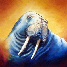 """Jeff Pykerman  """"Blue Walrus""""   36"""" X 36""""  http://www.jeffpykerman.org/"""