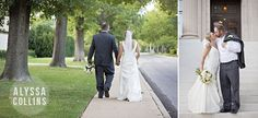 bride and groom walking down the sidewalk together, groom holding bouquet, Alyssa Collins Photography