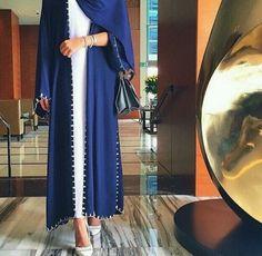 Hijaby Fashion Wear | Blue Abaya | Long White Dress | Instagram : @eighthhorcruxx