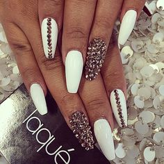 Simple white nails with crystals