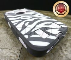 Amazon.com: myLife (TM) Gray + White Zebra Stripes (Built In Screen Protector) Hybrid Toughsuit Case for iPhone 4/4S (4G) 4th Generation Tou...