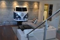 Basement addition - exposed concrete walls, wood grille ceiling - contemporary - basement - san francisco - JMJ Studios, like the ceiling Auto Volkswagen, Vw T1, Car Furniture, Automotive Furniture, Combi Wv, Home Interior, Interior Design, Plafond Design, Exposed Concrete