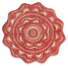 Jessica Simpson 2-Foot 2-Inch Medallion Bath Rug in Coral/White