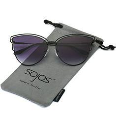 16715d50ed3 SojoS Womens Retro Vintage Half Metal Frame Cateye Sunglasses With Black  Frame Grey Lens