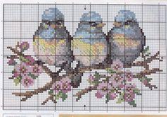 Punto croce - Schemi e Ricami gratuiti: Schema punto croce- uccelli e uccellini