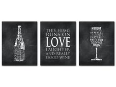 Wine Typography Prints   Kitchen Wall Art   This House Runs On Love,  Laughter And Really Good Wine   Wine Glass   Wine Bottle   Wall Decor