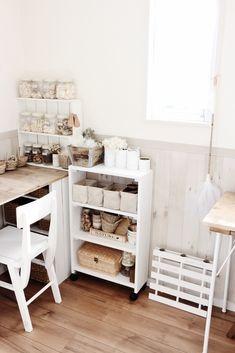 ここにちょっとした机があったらな。もしもベンチがあったら。 そんな風に、模様替えの度にもの足りなく感じることもある家具。 ですがその度に家具を購入していると家も狭くなり 管理できなくなってしまいます。 そこで、家具にも収納にも使えるカラーボックスを 変幻自在に使ってみました。 Studio Room, Sewing Rooms, Kitchen Hacks, Getting Organized, My Room, Kids Room, Interior Decorating, Sweet Home, Shabby Chic