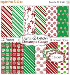 50% OFF TODAY Christmas Digital Papers, Candy Backgrounds w  Candy Cane, Peppermint, Gum Drops,  Red, Green for Cards, TpT Digital Scrapbook  #scrapbooking #winter #christmas #digiscrapdelights #happyholidays #crafts  #scrapbooking #winter #christmas #digiscrapdelights #happyholidays #crafts