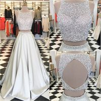 Prom Dress Princess, Jewel Crystals Two Piece Formal Evening Dress A-line Sleeveless Gorgeous Prom Dress Shop ball gown prom dresses and gowns and become a princess on prom night. prom ball gowns in every size, from juniors to plus size. 2 Piece Formal Dresses, Ivory Prom Dresses, Gorgeous Prom Dresses, Prom Dresses Two Piece, A Line Prom Dresses, Formal Evening Dresses, Pretty Dresses, Evening Gowns, Dress Prom