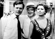 Marcello Mastroianni - Vittorio De Sica -Sophia Loren sul set di Ieri, oggi e domani 1963
