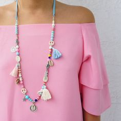 Tassel Necklace Beaded Necklace Long Tassel by AllGirlsneed