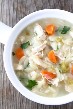 Lemon Chicken Orzo Soup Recipe on twopeasandtheirpod.com Love this hearty soup! #recipe #soup #chicken