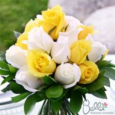 yellow wedding flowers centerpieces | White and Yellow Roses & Ruscus Wedding Bouquets and Centerpieces