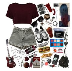 """""""I lay in my bed awake, in my bed awake at night as I dream of you, l'll fall in love, you'll fall in love""""   Sleeping with sirens- If I'm James Dean you're Audrey Hepburn  """"It could mean everything, everything to me""""  // Three sets in one day hell yea!   #croptop #creeper #hottopic #shorts #guitar #bands #rockerstyle #casualoutfit #sunnies #dark #grunge #edgy #piercing #plugs #patch #pins #cigarettes #bandmember #food  by thelyricsmatter on Polyvore featuring polyvore, Boohoo, American…"""
