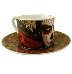 Limited Edition Tea/Coffee Cup & Saucers | Artist: Sylvia Ji. | Included inside the presentation box is an artist signed & sequentially numbered art print, plus a certificate of authenticity with Artist Bio. | Image 2 of 6