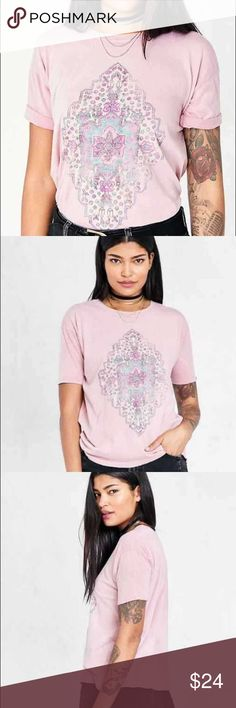 Truly Madly Deeply Blush Pink Tapestry Tee UO-exclusive graphic t-shirt with an intricate worn tapestry design at the front by Truly Madly Deeply. In soft cotton with a relaxed femme fit featuring short sleeves and a banded crew neck. Urban Outfitters Tops Tees - Short Sleeve