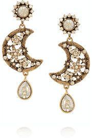 Oscar de la RentaBoucles d'oreilles clip en plaqué or et cristaux Lunar