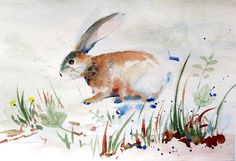 Watercolour paintings – Dandelions and rabbit painting, original painting – a unique product by Radikacolours on DaWanda