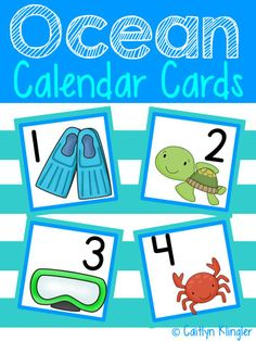 """Each card is 2.85"""" x 2.5"""" and are ideal for a classroom calendar. Each card features a bright-bold border, a bold number and a Ocean inspired image. The cards can be arranged in an ABCD pattern.  The product includes numbers 1-34 and 23/30 and 30/31.  Print product on white cardstock and laminate for durability."""