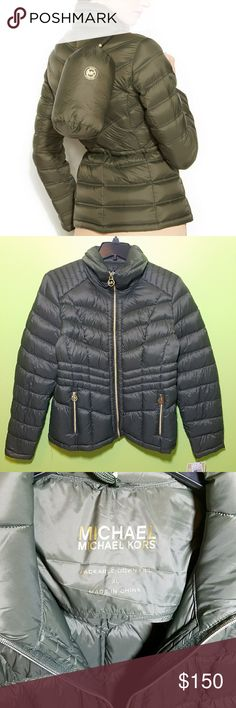 Michael Kors packable down jacket Olive Green packable down jacket with two pockets on the sides and gold zippers with the brand MK logo  it also has the little travel bag to put the super soft packable jacket in it that also has the logo on it. It's new never worn Michael Kors Jackets & Coats Puffers