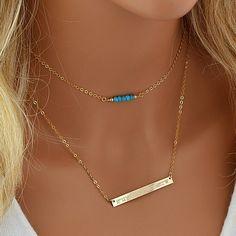 Birthstone Bar Necklace, Choker Necklace