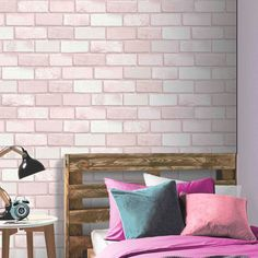 Arthouse Diamond Brick Pink Glitter Wallpaper -Featuring a typical brick wallpaper design yet brought to life in a soft pink colour scheme for a feminine twist. The look is completed by a dusting of glitter for a subtle shimmer effect. Brick Wallpaper Pink, 3d Brick Effect Wallpaper, Glitter Wallpaper Bedroom, Brick Wallpaper Bedroom, Glitter Bedroom, Wallpaper Uk, Stone Wallpaper, Silver Wallpaper, Trendy Wallpaper