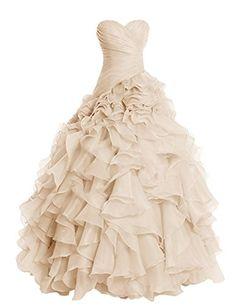 385c3963b3 Amazon.com: Dresstells Long Prom Dress Sweetheart Wedding Bridal Gown  Organza Ball Gown: Clothing