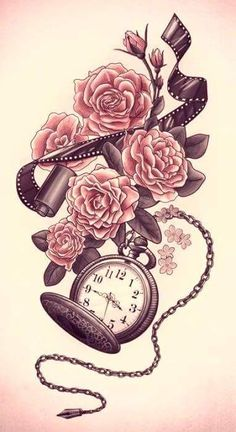 Film and a pocket watch. This would make for a great sleeve tatoo. Body Art Tattoos, New Tattoos, Sleeve Tattoos, Cool Tattoos, Tatoos, Henna Tattoos, Skull Tattoos, Tribal Tattoos, Sick Tattoo