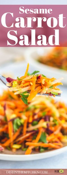 Crunchy, fresh and flavourful, this unique Carrot Salad with Sesame Maple Vinaigrette transforms a few simple ingredients into a mouthwatering side dish or starter. Salad Recipes Gluten Free, Salad Recipes Low Carb, Best Salad Recipes, Whole Food Recipes, Vegetarian Recipes, Snack Recipes, Healthy Recipes, Delicious Recipes, Maple Vinaigrette