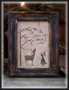 Do You See What I See Winter Christmas Cross by primitivestitchin