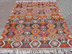 VINTAGE Turkish Kilim Rug Carpet, Handwoven Kilim Rug,Antique Kilim Rug,Decorative Kilim, Natural Wool  71,2 X 106,6. $599.00, via Etsy.