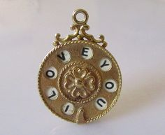 1976 - Large 9ct gold I LOVE YOU Moving Telephone Dial Pendant or Charm hallmarked RP Birmingham year 1976
