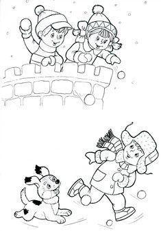 sneeuwbalgevecht, kleurplaat voor kleuters
