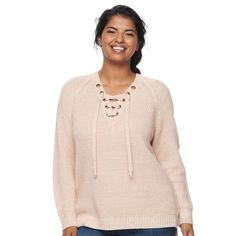 Juniors' Plus Size It's Our Time Lace-Up Sweater, Teens, Size: 1XL, Pink Ovrfl