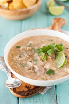 Slow Cooker White Chicken Chili Recipe {Clean Eating, Gluten Free}