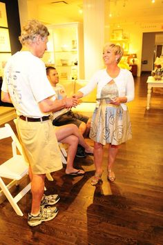 Pottery Barn Event - Lise congratulating the winner of the 'Staging Game' contest.