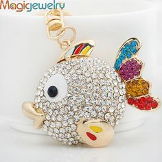 Kawaii Plump Crystal Fish Key chains Ring Fashion Rhinestone Animal Metal Keychain Keyring For Women Gift Charms Pendant Jewelry