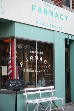 The Farmacy in Brooklyn 513 Henry St, Brooklyn, NY 11231 Pharmacy Design, Retail Design, Brooklyn New York, New York City, Pin Maritime, A New York Minute, Ny Ny, Soda Fountain, Shop Fronts