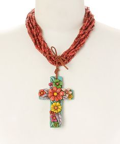 Loving this Red & Yellow Floral Cross Pendant Necklace on #zulily! #zulilyfinds