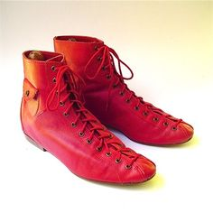 vintage red lace up ankle boots