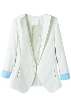 ROMWE   Contrast Trimming Slim White Blazer, The Latest Street Fashion