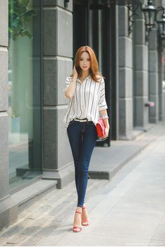 Loose Pinstripe Half Sleeve Collared Blouse - Korean Women's Fashion Shopping Mall, Styleonme. Korean Fashion Trends, Summer Fashion Trends, Korean Street Fashion, Asian Fashion, Look Fashion, Fashion Outfits, Womens Fashion, Fashion Tips, Fashion Design