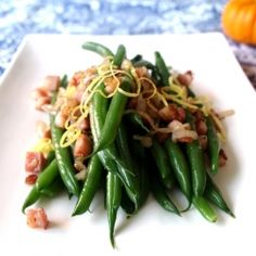 Green beans with Italian pancetta and a hint of citrus.