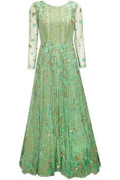 Mint green sequins embroidered anarkali gown available only at Pernia's Pop-Up Shop.